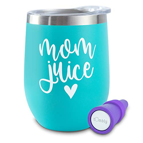 Mom Juice Tumbler - 12 oz Insulated Stainless Steel Tumbler with Lid - Includes Wine Stopper - Gifts for Mom, Mom Birthday Gifts, Mom Wine Glass, Mommy Juice Wine Glass, Mom Juice Wine Glasses