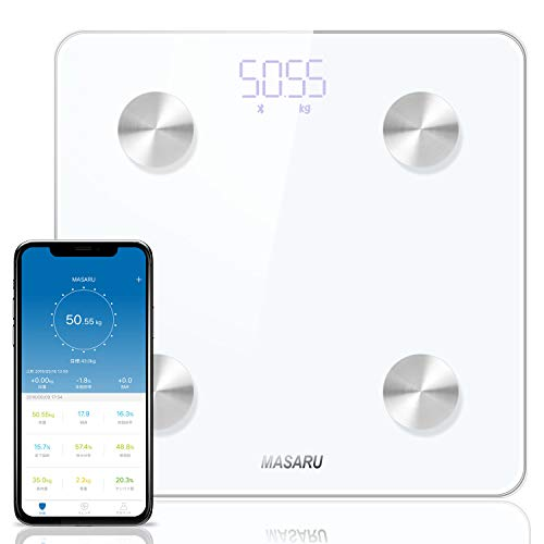 MASARU 体重・体組成計 Bluetooth対応 体重計 体脂肪計 BMI/体脂肪率/筋肉量など13項目測定可能 180kgまで対応 iPhone/Androidアプリで健康管理 データ自動記録 スマートスケール(電池付属)