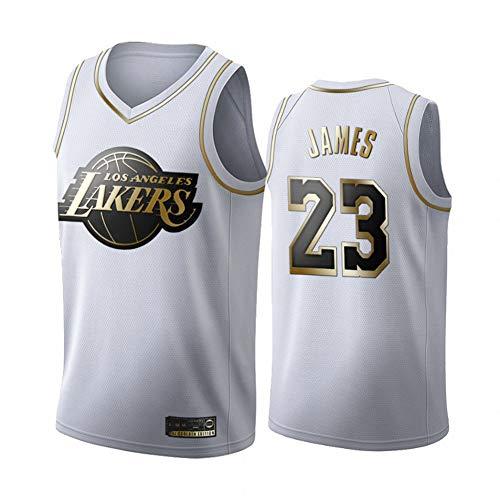 BXWA-Sports NBA Basketball Jersey # 23 Lebron James Los Angeles Lakers Platinum Fan Edition Jerseys Malla Transpirable Desgaste Resistente Uniforme Fitness Deporte Competencia Chaleco,L