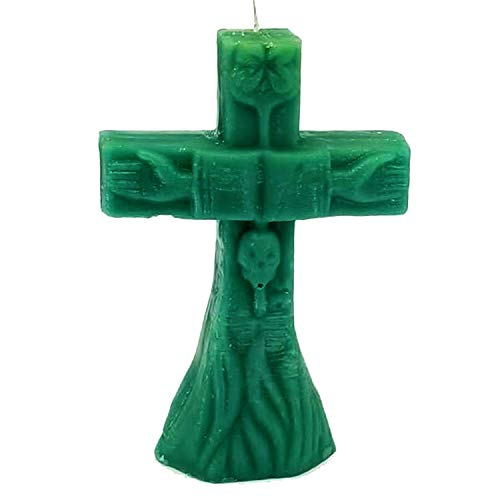 Green Large Cross Figure Image Candle (Money, Good Job, Luck, Games of Chance, Financial uncrossing, Spells, Spellwork & Ritual Magic)