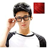 BERON Men Boys Short Wig for Cosplay Party Wig with Wig Cap (Red)