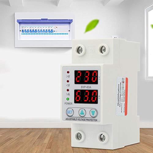 𝐒𝐞𝐦𝐚𝐧𝐚 𝐒𝐚𝐧𝐭𝐚 Protector de corriente de voltaje, pantalla LED doble Protector de corriente de voltaje ajustable monofásico AC230V 63A
