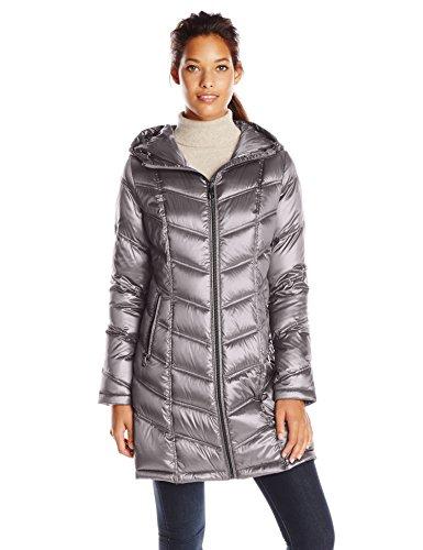 Calvin Klein Damen Daunenjacke mit Kapuze, Chevron, gesteppt, verstaubar - grau - XX-Small