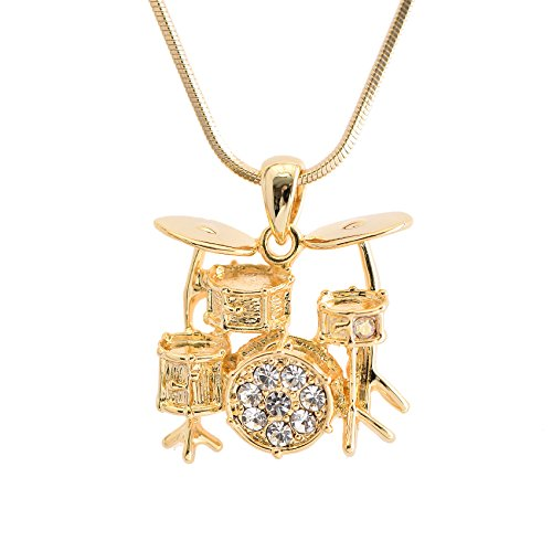 Spinningdaisy Crystal Miniature Drum Set Necklace (Gold)