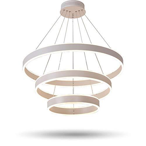 XLTT Modernos 3 Anillos Circulares Luces Colgantes LED para Sala De Estar Comedor Lámpara Colgante De Lustre LED Lámpara De Techo Suspendida, 3 Anillos 40 Cm 60 Cm 80 Cm Oro, Blanco Frío