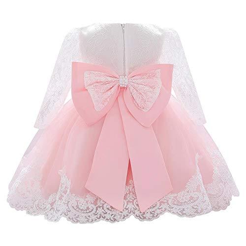 FYMNSI Vestido de niña pequeña o bebé para fiesta de cumpleaños o bautizo, con lazo, flores, encaje, diadema y tutú de tul, para bodas, niña paje, estilo princesa 11#rosa 18-24 Meses