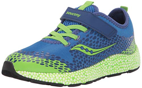 Saucony Boys' Astrofoam Sneaker, Blue/Green, 2 M US Big Kid