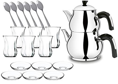 Viola Türkischer Teekocher Wasserkocher Demlik Caydanlik Cay Mini Piramit Teekanne Induktion (Schwarz + Glasset)