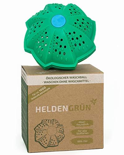 Heldengrün Öko Waschball [TESTURTEIL:'GUT'] - Nachhaltig Waschen ohne Waschmittel - Laborgeprüfte Qualität - Ideal für Umwelthelden, Allergiker und Familien - Bio Waschkugel mit 4-fach Mineralformel