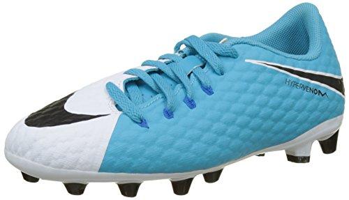 Nike Jungen Hypervenom Phelon 3 AG-pro Fußballschuhe, Mehrfarbig (White/Black-Photo Chlorine Blue), 37.5 EU