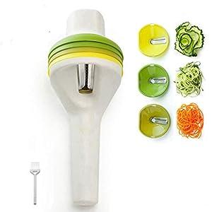Yoyika Cortador de Verduras en Espiral Espiralizador Vegetal Manual Rallador de Verdura con 3 Cuchillas Incluye Cepillo de Limpieza, Utensilio de Cocina Profesional para Zanahoria, Pepino, Calabacín