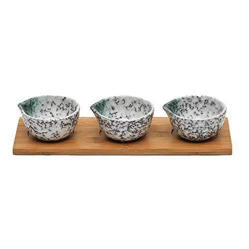 Plato de Salsa Cuencos de inmersión de cerámica de 3.5 pulgadas con bandeja de bambú Estilo japonés Bowls / platos para salsa de tomate, soja, barbacoa y otra cena de fiesta - Conjunto de 3 Cuencos pa