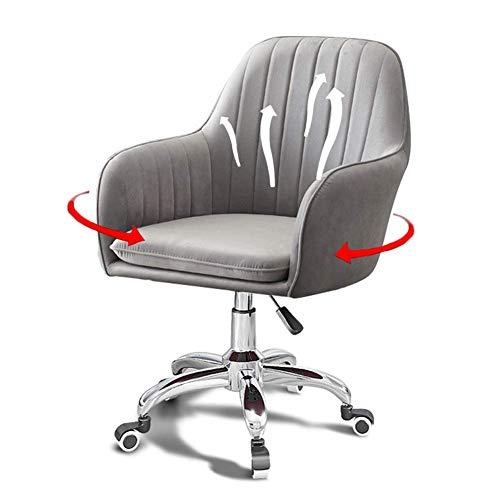 Silla de oficina de terciopelo ergonómica, cómoda silla giratoria con soporte lumbar, altura ajustable, respaldo medio, silla de ordenador para oficina en casa, color gris