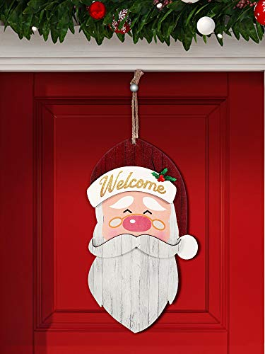 2020 Christmas Hanging Door Sign Santa Claus Wooden Indoor/Outdoor Sign Welcome Santa Sign for Christmas Indoor Outdoor Party Wall Home Decor