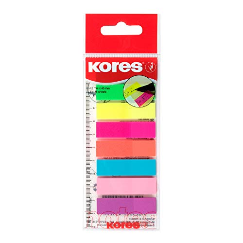 Kores - Haftende Register-Indexstreifen auf Lineal, Selbstklebende Seitenmarkierer & Dokumentkennzeichnung, Schul- & Bürobedarf, 12 x 45 mm, Set aus 8 Sortierten Farben zu je 25 Blättern