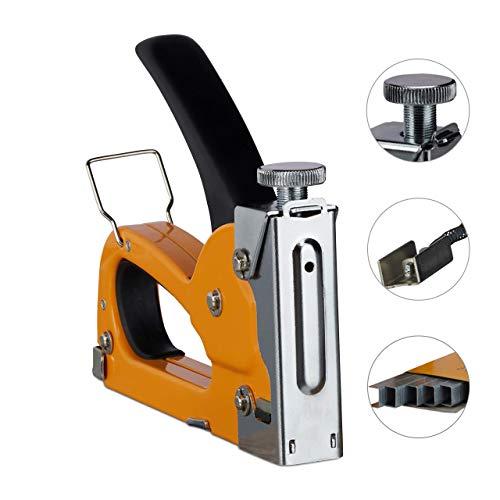Relaxdays, orange Profi Handtacker Industriequalität 500 Klammern, regulierbare Schusskraft Wechselmagazin 4-8 mm, Eisen, 1er Set