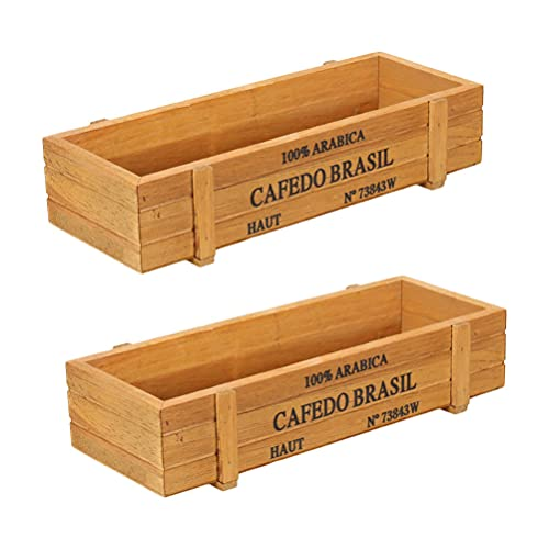 HEMOTON 2pcs Wood Planter Box Rustic Wooden Flower Pot Succulent Plant Container Holder Garden for Garden Patio Window