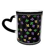 Mardi Gras Fleur De Lis Taza cambiante Taza de café Diseño de cerámica Taza sensible al calor Taza que cambia de color en el cielo, 11 oz