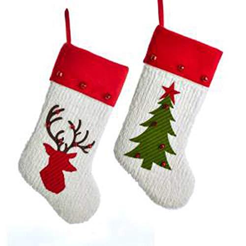 Kurt Adler Reindeer Tree Red Green 21 inch Cotton Decorative Stocking Set of 2