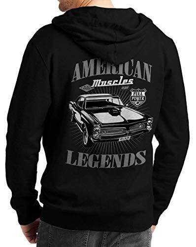 Herren Zip Hoodie Sweat-Jacke mit Kapuze Kapuzen-Jacke Winter mit Motiv Bedruckt Hot-Rod US-Car Amerika Mustang Challenger Muscle-car V8 American V8 Legends Schwarz 2XL