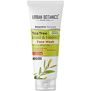 UrbanBotanics® Tea Tree, Basil & Purifying Neem Face Wash For Women daily use and Men - Paraben Free - SLES Free - Face Wash For Oily Skin, Acne Prone Skin, Normal Skin & Dry Skin, 200ml