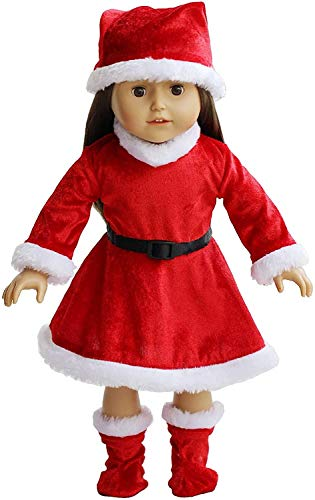 The New York Doll Collection Completar Navidad Atuendo por Moda Niña Muñecas Incluye Muñecas Papa Noel Vestido con Sombrero y Calcetines - Encaja 18 pulgadas / 46 cm Muñecas - Muñecas Ropa Navideñas