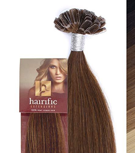 hairific Keratin Extensions Echthaar, Helles Schokobraun - 40cm, Bonding Haarverdichtung- und Verlängerung, 100% Remy Hair, Salon Qualität, 50 Strähnen