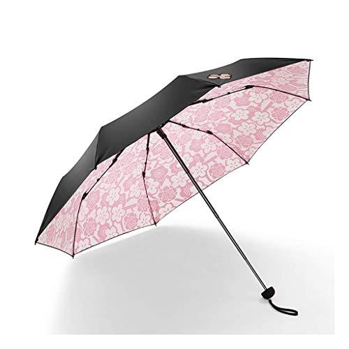JIAJBG Paraguas Plegables Sol Paraguas Damas Protección Sol Paraguas Vinilo Sol Sombrilla Exterior Protección Lluvia Y Lluvia Dual-Uso Plegable Reutilizable/Rosado