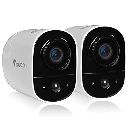 TOUCAN Rechargeable Battery-Powered Wireless Outdoor Security Camera with Alexa Support (2 Camera) Home Security Systems
