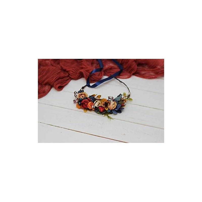 wedding artificial flora – orange navy blue flower crown/fall wedding/floral headpiece/bridal headband/flower girl crown