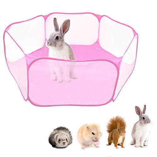 Tienda de jaula plegable para animales pequeños 47.2 ', cerca transpirable y transparente para mascotas, parque infantil Pop Open para interiores y exteriores, cerca de patio para cobayas, conejos