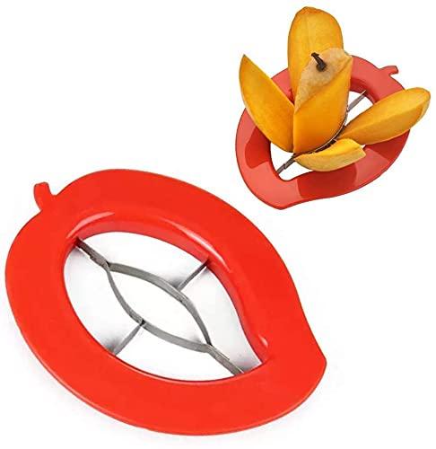 Maahi International Mango Cutter Chopper Slicer Tool Machine Non Slip Handle (RED)