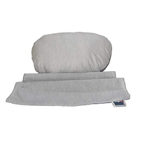 BabyCANGAROO Babypillow Plus - Cojín de embarazo para soporte lumbar, vientre y confort para niño, 100% fabricado en Italia (Babypillow Plus – Cojín adicional – Rayas gris y blanco)