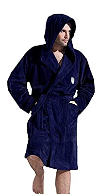 Men Gents SOFT Bath Robe Dressing Gown Bathrobe Tie Belt and Hood