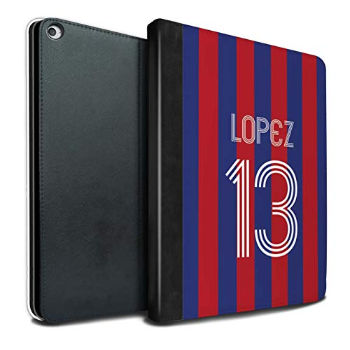 Stuff4 Personalised Tablet Case for Apple iPad Pro 12.9 2017/2nd Gen Custom Euro Football Club Shirt Kit Blue Carmine Flip Faux Book PU Leather Cover