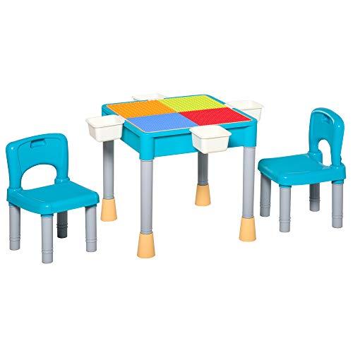 homcom Set Tavolo con 2 Sedie per Bambini, Tavolo Contenitore e Multiuso per Giocare con Le Costruzioni, Multicolor