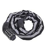 Candado de cable con código para bicicletas, candado con código antirrobo para bicicletas, candado con cable para bicicletas, cinco contraseñas sin llave, cable flexible extendido, longitud de 3.2 pie