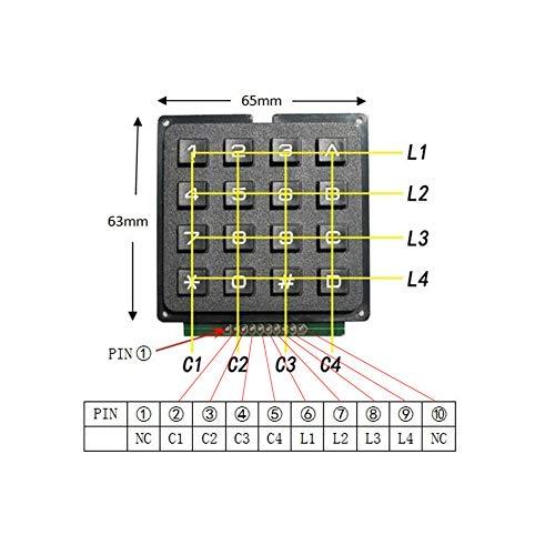 16 Keys Matrix Keypad 4 X 4 Membrane Keyboard Module Array Switch for Arduino UNO R3