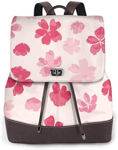 doga Sakura-Muster-Frauen-echtes Leder-Rucksack-Geldbeutel-Art- und Weisereiseschule-Minischultertasche