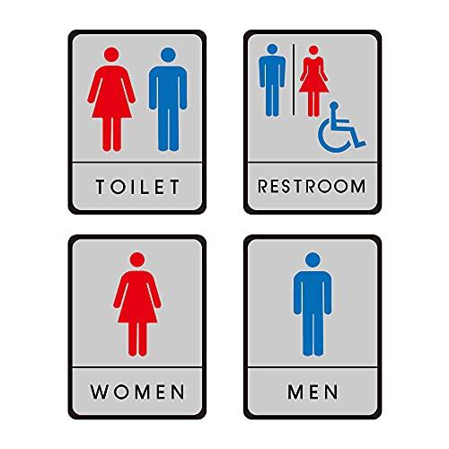 ★新商品★【サインキングダム】トイレ標識 サインプレート WC お手洗い 飲食店 男性用 女性用 共用 車イス対応 車椅子 障害者 障がい者 多目的 4種[gs-pl-toiHIJK] (4種セット)