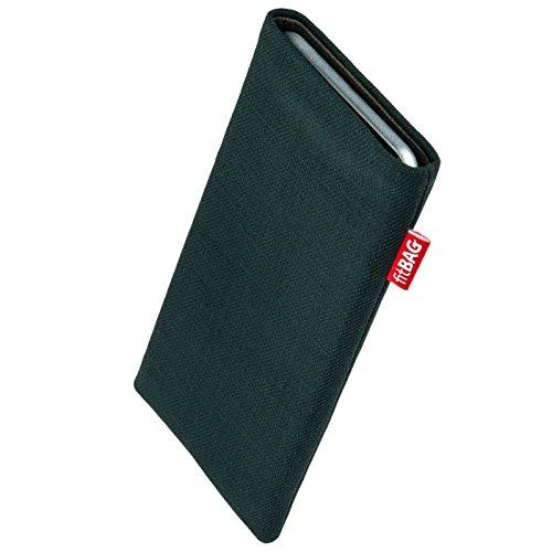 fitBAG Rave Smaragd Handytasche Tasche aus Textil-Stoff mit Microfaserinnenfutter für Wiko Stairway | Hülle mit Reinigungsfunktion | Made in Germany