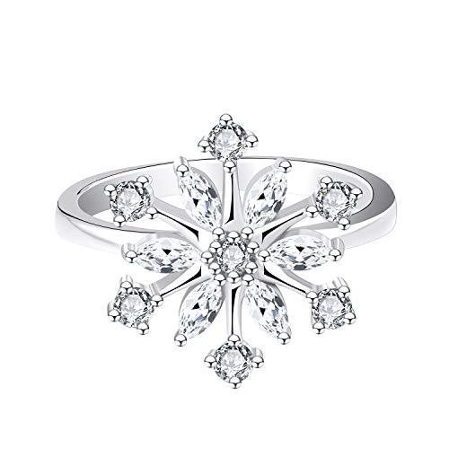 JO WISDOM Damen Ring,Ring silber 925 Schneeflocken mit 3A Zirkonia swarovski,Schmuck für Frauen, Weihnachtsgeschenke (62 (19.7))