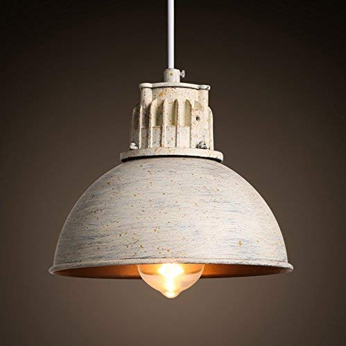 Lámpara colgante Lámpara colgante de techo, individual Fuente de luz E27 Pintura blanca de metal Lámpara de techo retro Lámpara de techo para sala de estar Lámpara de café para restaurante