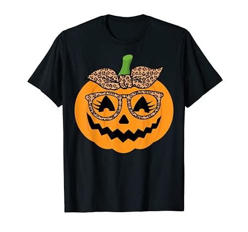 Cute Pumpkin Leopard Glasses and Bandana Halloween Costume T-Shirt