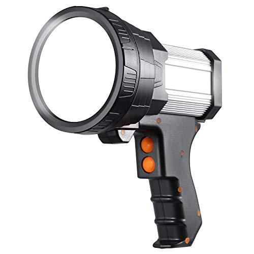 Super Bright Rechargeable Spotlight,6000 Lumen LED Handheld Flashlight with Tripod ,Long Lasting Searchlight with USB Output,IPX4 Waterproof Lightweight spotlight flashlight(Silver)