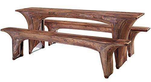 Trendyshop365 Hussen Set 3-teilig für Bierzeltgarnitur 50cm Baumstamm Holz-Motiv - Husse für Bierbank und Biertisch