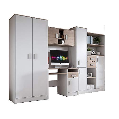 Idzczak Meble Wohnwand Matthias, Modern Kinderzimmer-Set, Anbauwand, Schreibtisch, Komplett, Schrank, Jugendzimmer (Weiß)