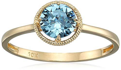 10k Gold Swarovski Crystal March Birthstone Ring, Size 8