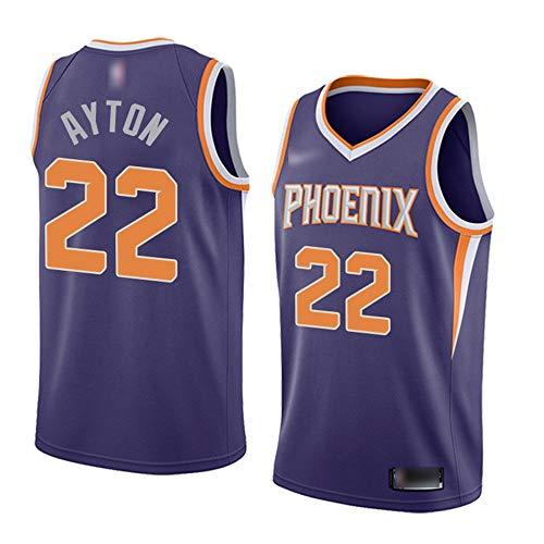 ATI-HSKJ Phoenix Suns Basketball-Trikots # 22 Deandre Ayton Männer Basketball Westen Lila Fans Classic Retro Sweatshirt Schnell Trocknend Jersey BH165,XL:180cm~185cm