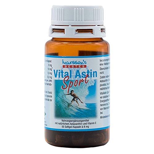 VitalAstin Sport - Astaxanthin 8 mg - 50 Kapseln - versandkostenfrei - NEUE FORMEL mit natürlichem Astaxanthin verstärkt mit Zink und Vitamin B1